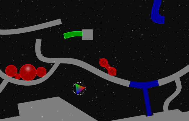 That coloured triangle is the goal - you play as the car thing. Also you can change colours.